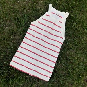Madewell White Red Purple Striped High Neck Tank